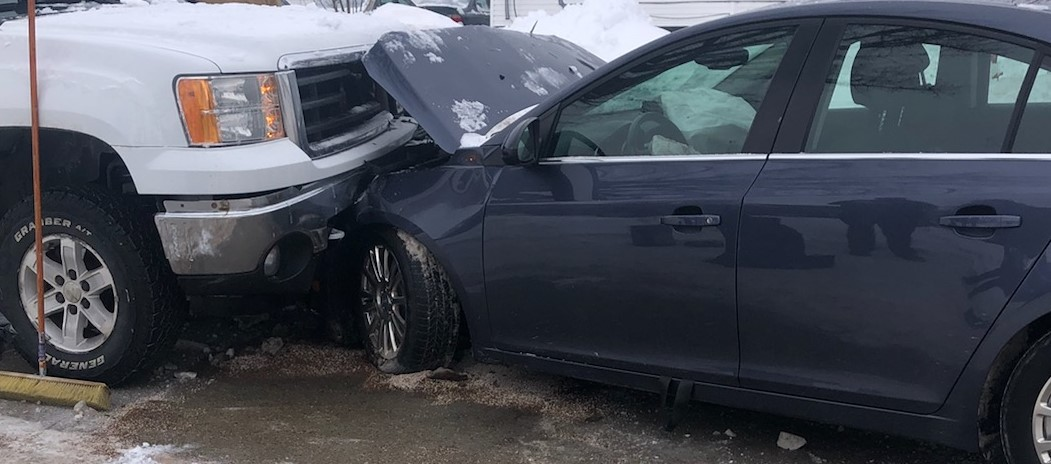 two cars in collision accident